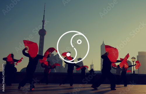 Photo Stands Shanghai Yin Yang Balance Contrast Opposite Religion Culture Concept