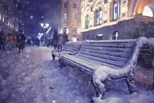 Bench Winter Street City Christmas Night