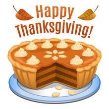 Happy Thanksgiving Card, Poster, Background With Pumpkin Pie