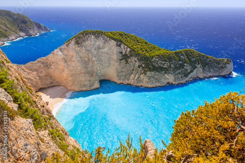 Fototapeta Beautiful Navagio Beach (Shipwreck beach) on Zakynthos Island, Greece obraz na płótnie