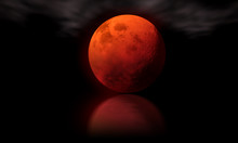Blood Moon Concept Of Halloween Or Full Moon. Red Moon On Black Sky. Elements Of This Image Furnished By NASA