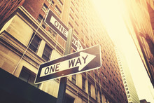 "Retro Style ""one Way"" Signs On Street Of Manhattan, New York."