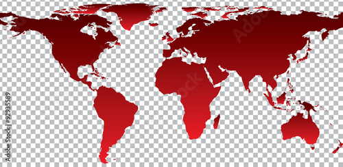La pose en embrasure Carte du monde Red map of world on transparent background