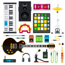 Rock And Pop Music Instruments: Guitar, Cables, Keyboard, Synthesizer, Hihats, Drum Pedal, Guitar Strap, Speakers, Headphones, Guitar Pedals, Drum, Tambourine. Flat Vector Isolated Illustration Set.