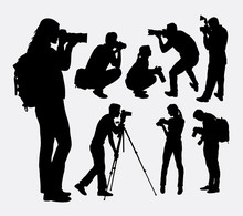 Photographer Male And Female Silhouettes. Good Use For Symbol, Logo, Web Icon, Mascot, Or Any Design You Want. Easy To Use.