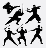 Ninja japanese warrior silhouettes. Good use for symbol, logo, web icon, mascot, or any design you want. Easy to use.