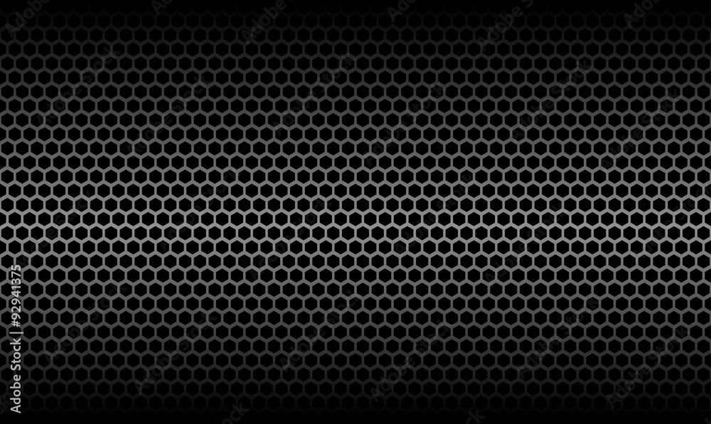 Fototapety, obrazy: Dark Honeycomb Metallic Carbon Texture