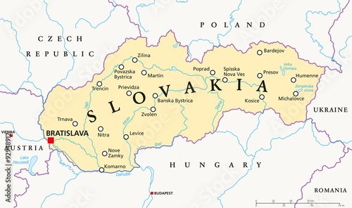 Photo Slovakia political map with capital Bratislava, national borders, important cities, rivers and lakes