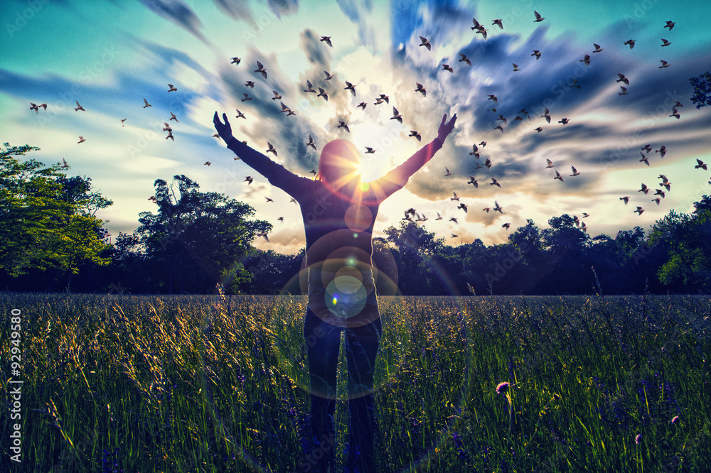 Fototapety, obrazy: Young girl spreading hands with joy and inspiration facing the sun,sun greeting,freedom concept,bird flying above sign of freedom and liberty