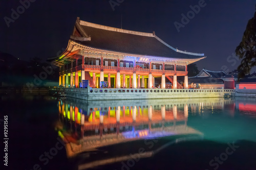 Gyeonghoeru in Gyeongbokgung palace at night -  Seoul,  Republic of Korea Poster