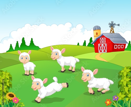 Poster Ranch Cute cartoon sheep collection set with farm background