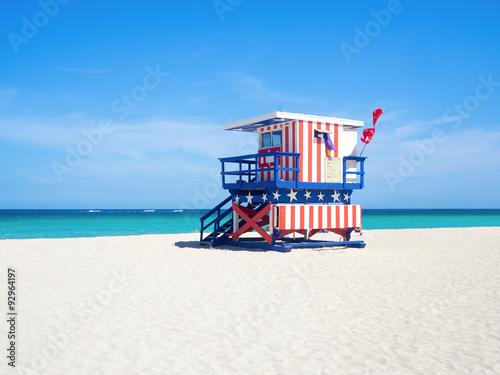 Naklejka premium Słynna chata ratownika w South Beach w Miami