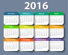 Calendar 2016 Year Vector Desi...