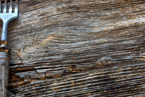 Fototapeta rustic fork on wooden table