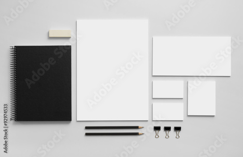 Obraz Mockup business brand template on gray background. - fototapety do salonu