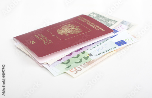 Passport With Lot Of Currency Cash Dollars Euro Ready To