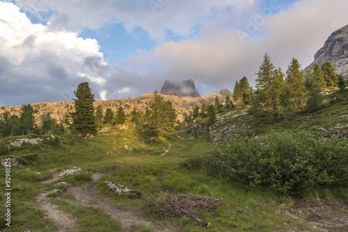 Foto auf Gartenposter Reflexion Mount Averau at sunset reflected in lake Limedes, blue sky with clouds, pass Falzarego, Dolomites, Veneto, Italy