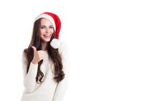 Beautiful Woman In Santa Hat Thumbs-up.