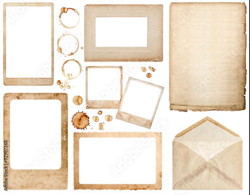 Old used paper, envelope, photo frames and coffee stains scrapbo Wall mural
