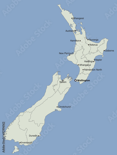 Highly detailed political New Zealand map, Main Cities - Buy ...