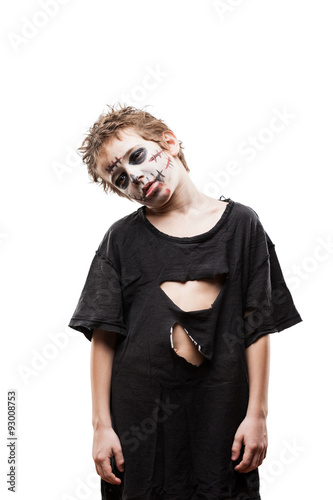 Photo  Screaming walking dead zombie child boy halloween horror costume