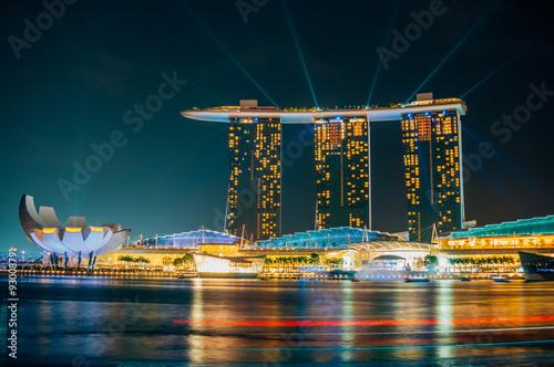 Obraz na plátne Laser show in Marina bay Sands