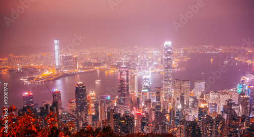Foto auf Leinwand Hongkong Hongkong Cityscape Night View from the Jardine's Lookout, Hong Kong, China