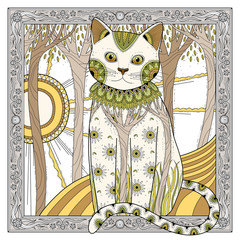 Panel Szklany Kot elegant magic cat