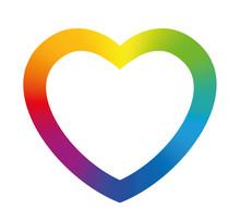Rainbow Colored Heart Frame. Illustration On White Background.