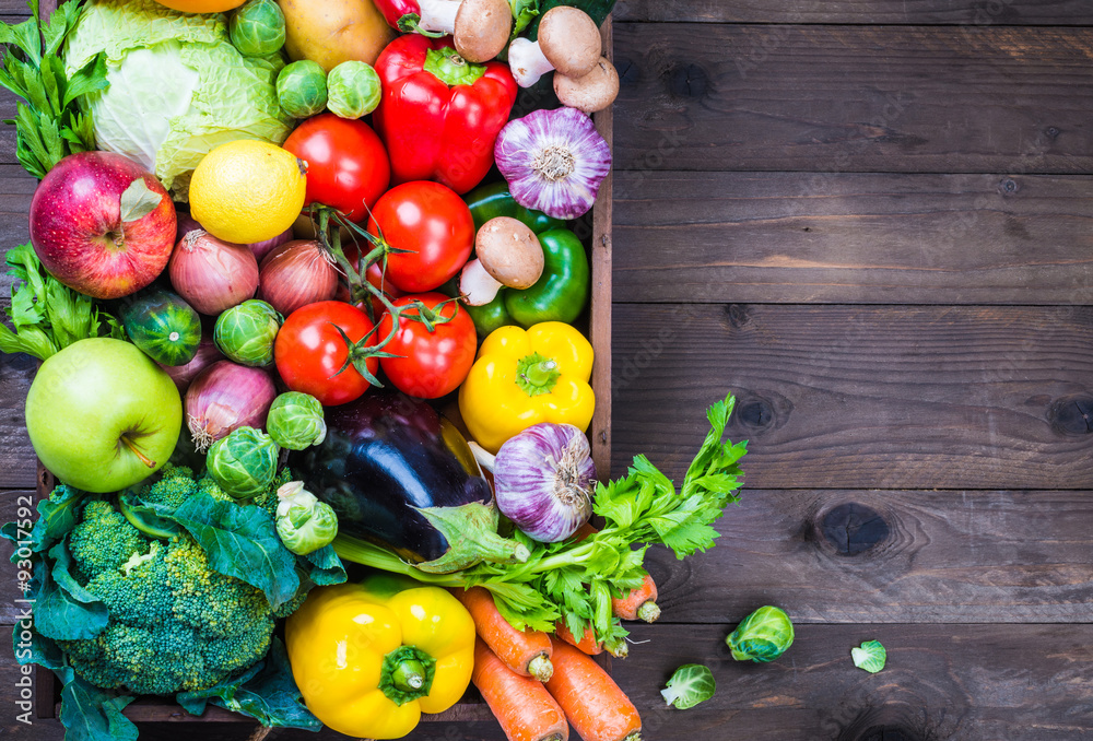 Vegetables and fruits box text space, delivery food.
