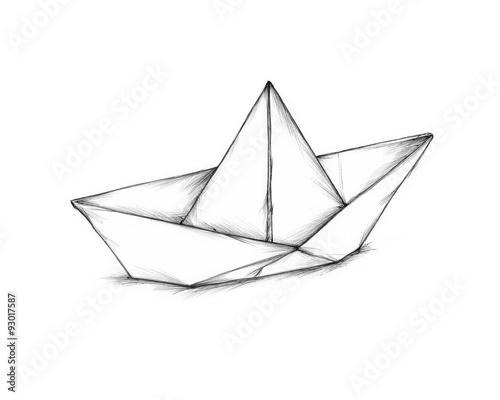 Einfaches Papierschiffchen Fototapete