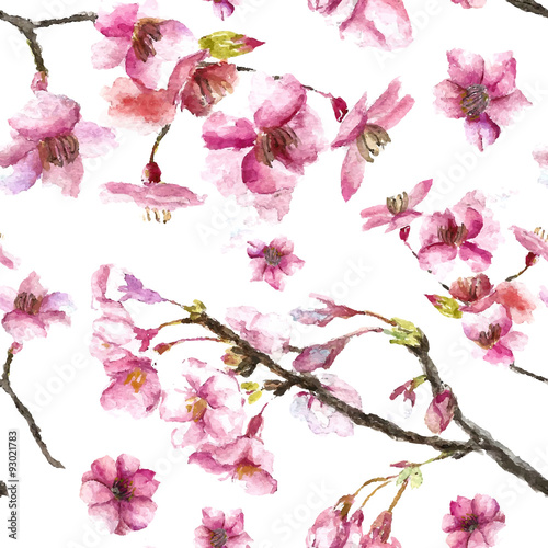 Cotton fabric Hand Drawn Cherry Blossoms seamless pattern.