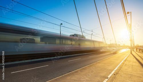 Foto auf Leinwand Eisenbahnschienen Severinsbrücke in Köln