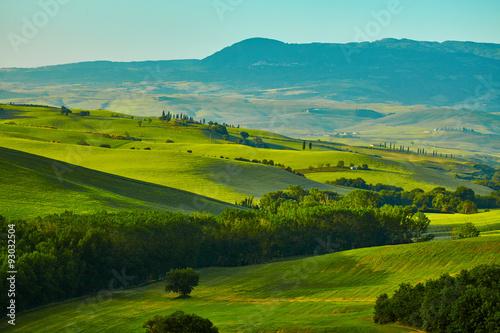 Tuinposter Heuvel Tuscany hills