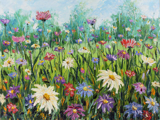 Obraz Summer wild flowers, oil painting