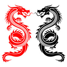 Black And Red Tribal Dragon Ta...