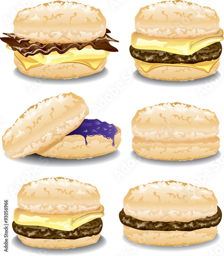 Illustration of six assorted breakfast biscuit sandwiches. Canvas Print
