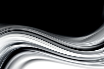 Panel Szklany Dym Abstract Black and White Wave Design