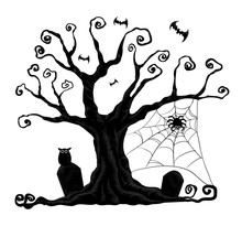 Halloween Trees From Vector