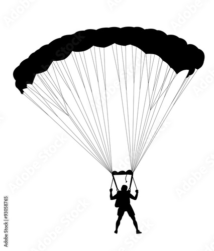 Fototapeta Silhouette skydiver parachutist isolated on white