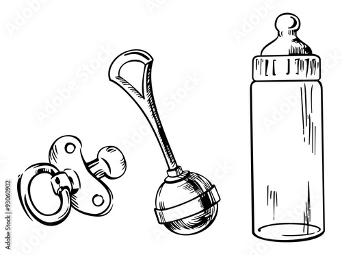 Outline image of baby bottle, soother and rattle isolated on a white background Tapéta, Fotótapéta