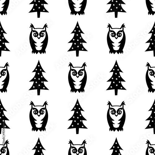 czarno-bialy-wzor-zima-bez-szwu-swieta-drzewa-i-sowy-ilustracja-las-zimowy