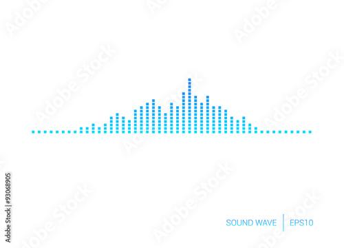 Fotografía  Sound Wave Blue Square Vector