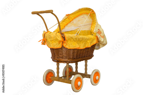 wooden baby stroller isolated on white background Poster