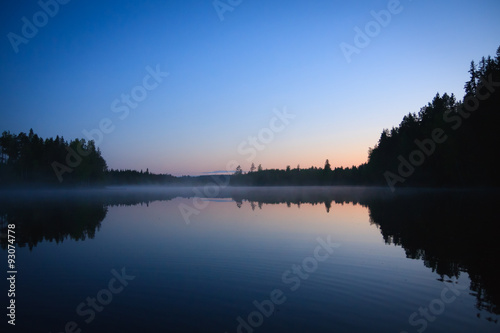 Tuinposter Meer / Vijver Calm lake scape at summer night