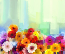 Oil Painting - Still Life Of Yellow, Red And Pink Color Flower. Colorful Bouquet Of Daisy And Gerbera Flowers. Hand Paint Floral Impressionist Style.