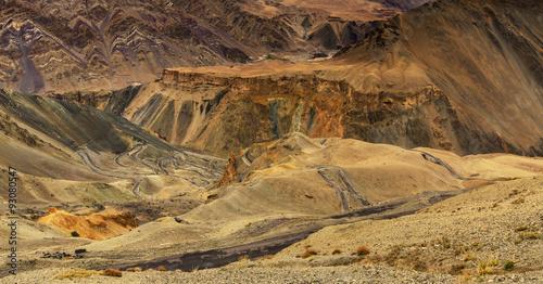 In de dag Stenen Moonland, Ladakh, Jammu and Kashmir, India