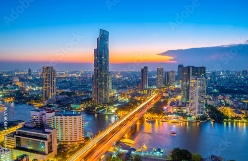 Photo Stands Bangkok Landscape of river in Bangkok cityscape in night time