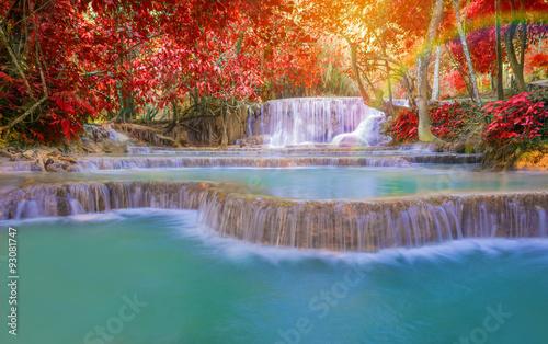 Waterfall in rain forest (Tat Kuang Si Waterfalls at Laos.) © weerayut