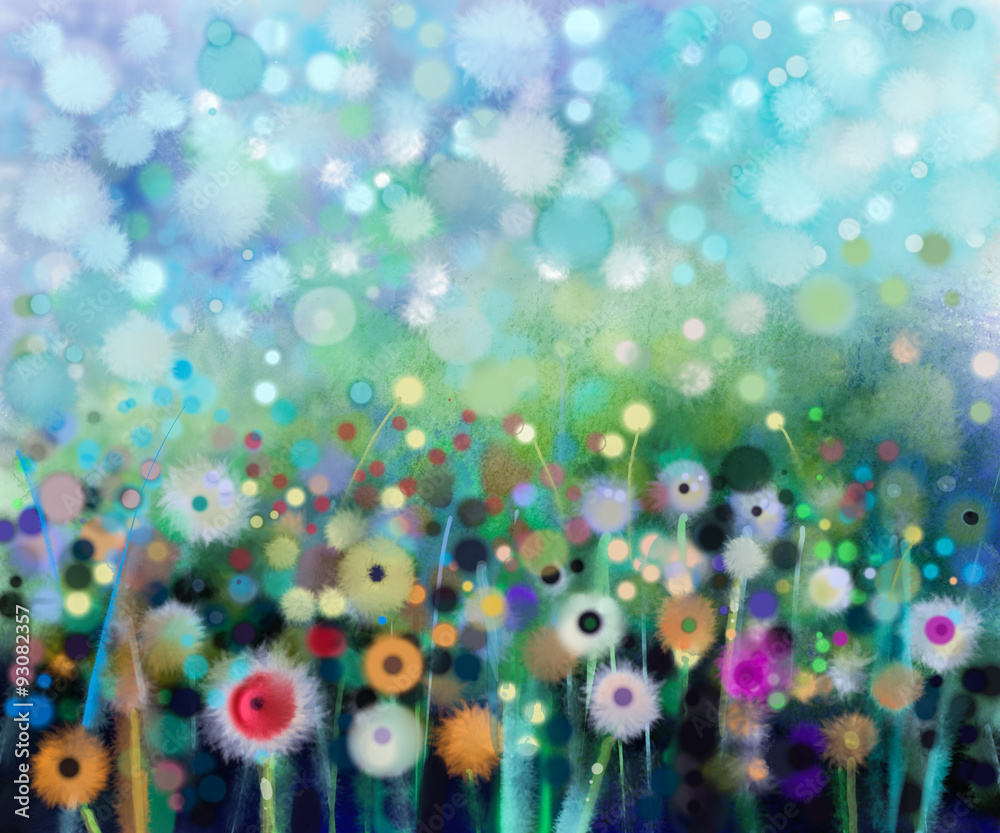 Fototapety, obrazy: Abstract floral watercolor painting. Hand paint Yellow and white flowers dandelion in soft color on green-blue color background.Spring flower seasonal nature background